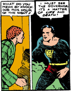 Superman arrives at the Governor's house at night - Action Comics #1, DC Comics