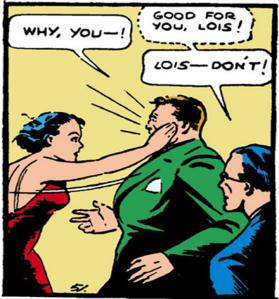 Lois slapping a thug - Action Comics #1, DC Comics