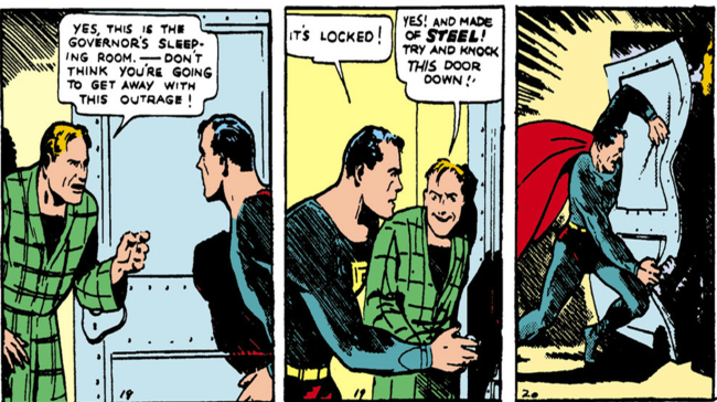 "Superman breaks down the steel door to the Governor's ""sleeping room"" - Action Comics #1, DC Comics"