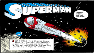 "Opening panel of ""Superman"" - Action Comics #1, DC Comics"