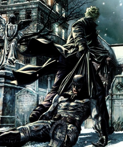 Joker dragging Batman through the graveyard- Batman: Noël, DC Comics
