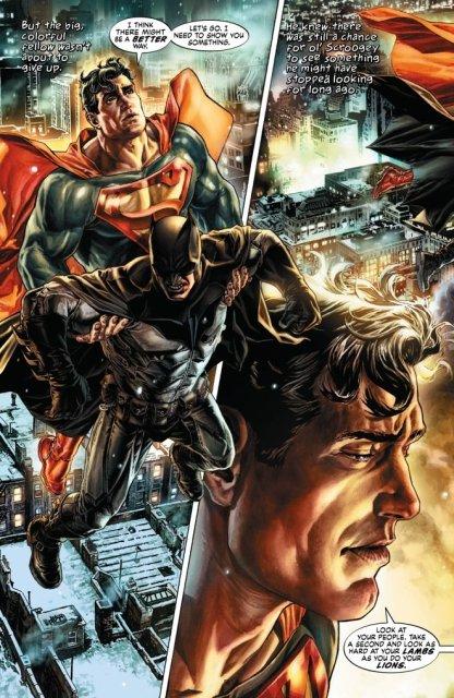 Superman taking Batman through Gotham - Batman: Noël, DC Comics