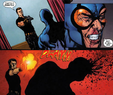 "Maxwell Lord murders the Blue Beetle - ""Countdown to Infinite Crisis"", DC Comics"