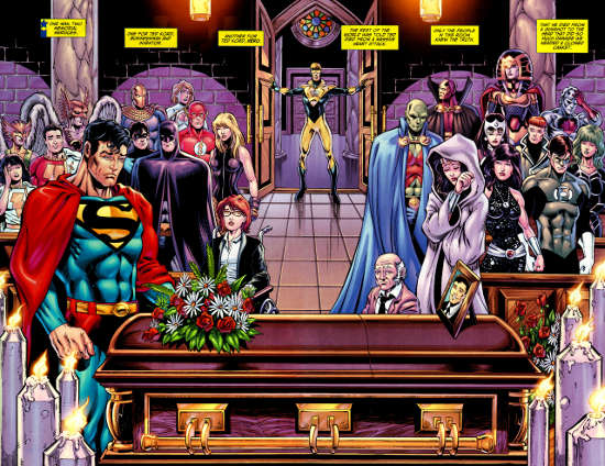 "The funeral of Ted Kord (Blue Beetle II) - ""Booster Gold"" vol. 2 #26, DC Comics"