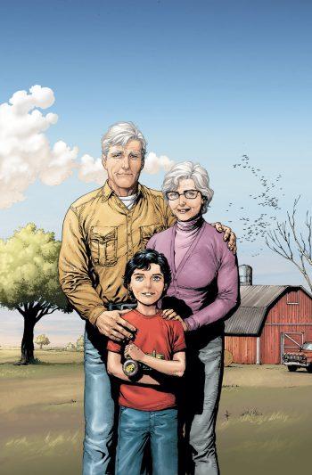 Young Kal-El with his adoptive parents Jonathan and Martha Kent - DC Comics