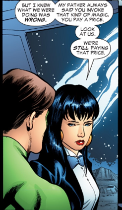 Zatanna lamenting her actions - JLA #115