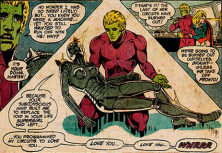 Brainiac 5 with the remains of his Supergirl robot - Superboy #204, DC Comics