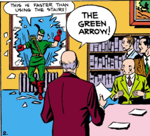 Green Arrow arrives at the History Club - More Fun Comics #73, DC Comics