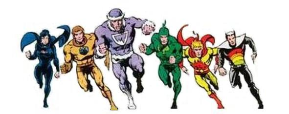 The Legion of Substitute Heroes, from left to right: Night Girl, Stone Boy, Polar Boy, Chlorophyll Kid, Fire Lad, and Color Kid - Superboy and the Legion of Super-Heroes #243, DC Comics