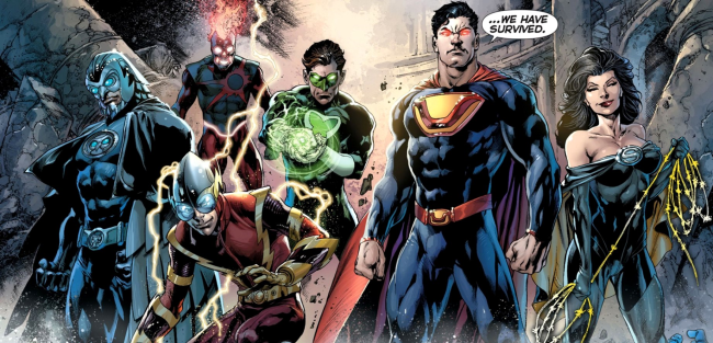 The Crime Syndicate as they appear in the New 52, from left to right: Owlman, Johnny Quick, Deathstorm, Power Ring, Ultraman, and Superwoman - Justice League #23, DC Comics