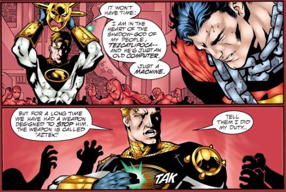 Aztek sacrifices himself to destroy Mageddon - JLA #41, DC Comics