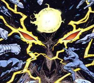 Mageddon, possibly the returned shadow-god - JLA #37, DC Comics