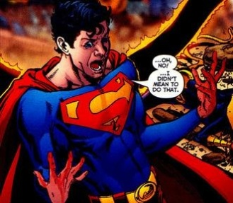 Superboy-Prime's shock after accidentally killing Pantha - Infinite Crisis #4, DC Comics
