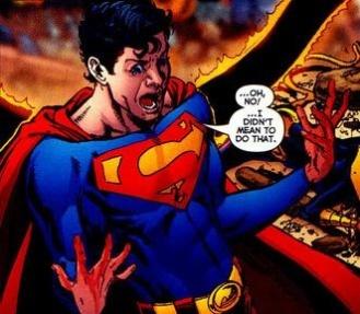 Superboy-Prime's shock after accidentally killing Pantha - Infinite Crisis #4, DC Comics