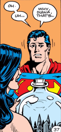 Wonder Woman presents Superman a replica of the bottled city of Kandor - Superman Annual #11, DC Comics