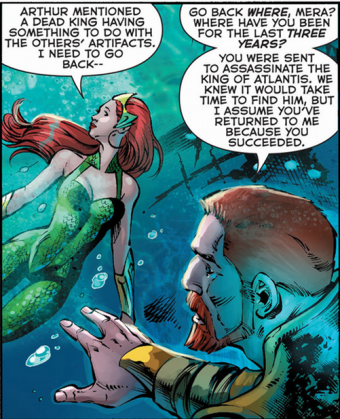 Mera and Nereus in Xebel - Aquaman #21, DC Comics