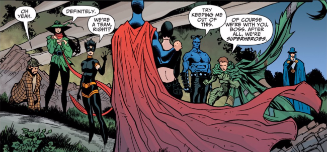 The Shadowpact stands together, from left to right: Detective Chimp, Enchantress, Nightshade, Nightmaster, Black Alice, Blue Devil, Ragman, and the Phantom Stranger - Day of Vengeance #6, DC Comics