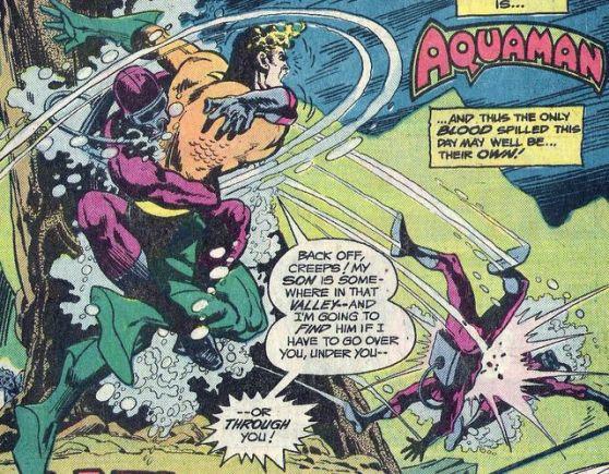 Aquaman fighting Black Manta's men - Adventure Comics #452, DC Comics