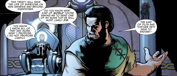 Metron proposes his treaty to Highfather - Justice League #40, DC Comics