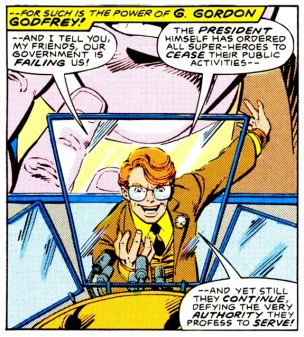 G. Gordon Godfrey speaking out against superheroes - Legends #4, DC Comics