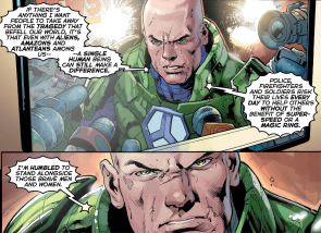 Lex Luthor addresses the media after saving the world - Justice League #30, DC Comics